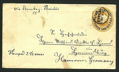 (4259) - Indien 1892,  2 1/2A QV post. stat. envelope used to Germany, at back