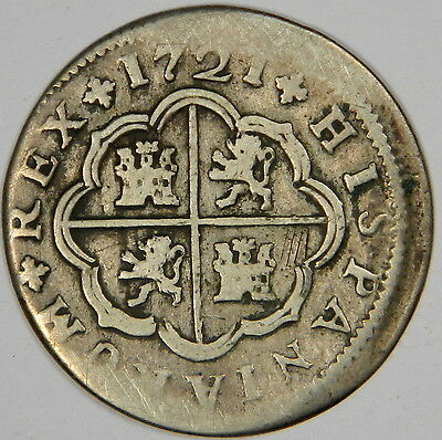 1721 J Spain Silver 2 Reales - Priced Right!