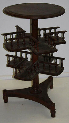 Antique Late 19th c. English Mahogany Revolving Book Case Wine Table Plant Stand