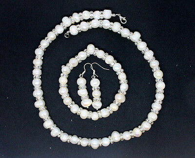 New Sterling Silver Genuine Fresh Water Pearl Earrings Necklace Jewellery Set