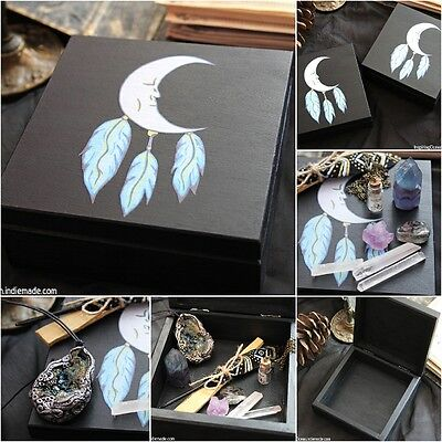 Wood keepsake box with Moon dreamcatcher filled with goodies, witch box
