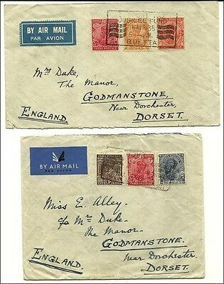 Indien  1934/35 ,  4 Air Mail covers to GB franked with KG V stamps
