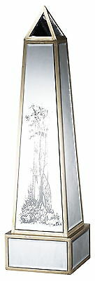 Clear Glass Mirrored Obelisk Sculpture Alcott Hill FREE SHIPPING (BRAND NEW)