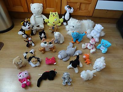 Bundle 25 Large & Small Plush Soft CATS 18 ins Long max-  inc. MISTY Pink Cat