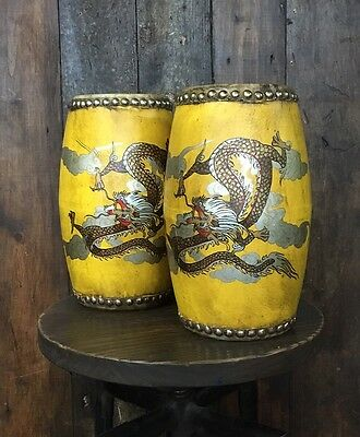 Pair of Vintage Yellow Bongo Drums with Dragon Design