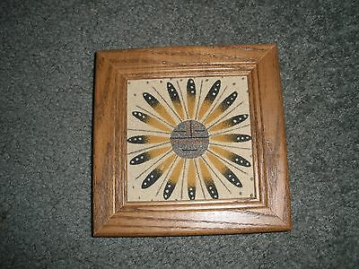 "Framed Navajo Sand Painting of ""Sun"" by Navajo Indian Artist Description Label"
