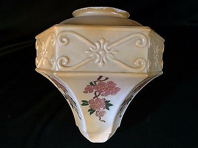 """Antique Hand Painted Milk Glass Pendant Ceiling Lamp Shade 4"""" Fitter 9"""" Tall"""