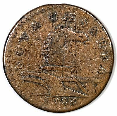 1786 16-L R-1 Protruding Tongue New Jersey Colonial Copper Coin