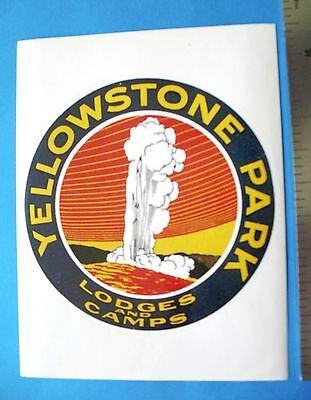 Luggage Label - Travel Sticker     YELLOWSTONE PARK  -  LODGES AND CAMPS