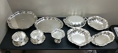11pc Dealer Lot International Chippendale Silverplate Bowls Trays Serving Dishes