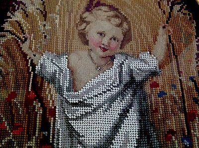 Antique Victorian Hand Embroidered Beadwork Framed Glazed Picture 20x12 Inches