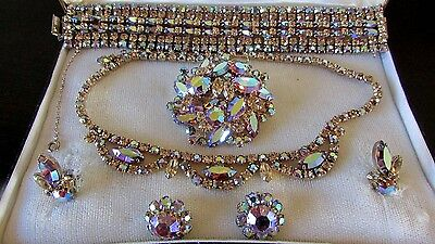 Amazing Sherman Rhinestone Wide Bracelet Necklace Earring set Brooch all Signed