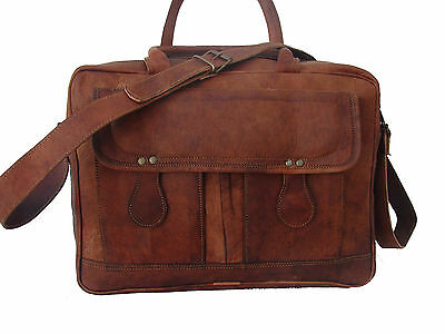 Men's Genuine Vintage Leather Messenger Laptop Briefcase Satchel Big Bag Brown