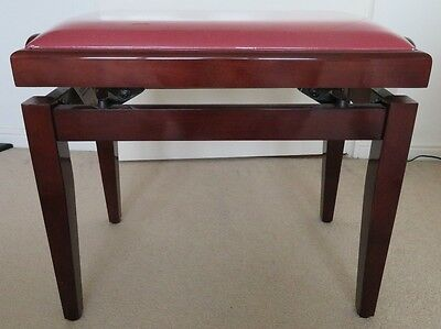 STAGG Adjustable Piano Stool PB40 Padded Seat Red & Mahogany