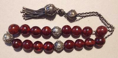 Antique Very Old Tribal Worry Prayer Beads Baltic Dominican Amber Brown Silver