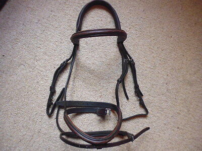 Prestige Comfort Fancy Stitch Flash Noseband Snaffle Bridle brown size cob