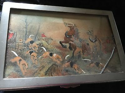 Vintage/antique silver plated cigarette box with hunting scene lid horse & hound