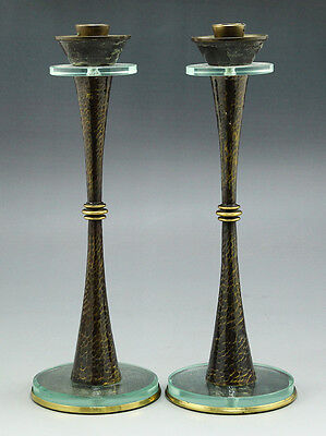 Pal Bell Israel Brass And Glass Candlesticks Candle Holders Judaica