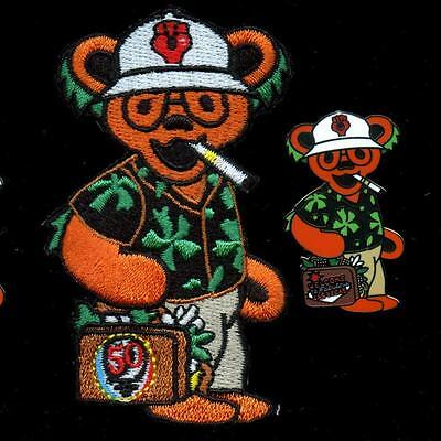 Hunter S Thompson Gonzo Grateful Dead Bear 1 Pin & 1 Patch green flowers
