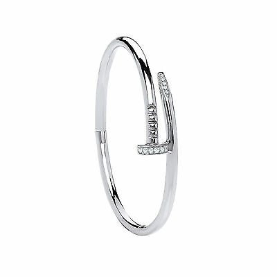 Nail & Screw Round Diamond Solid Bangle Crafted In Sterling Silver
