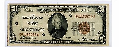 1929 $20 Twenty Dollar Bill National Currency Brown Seal Note - Chicago, IL