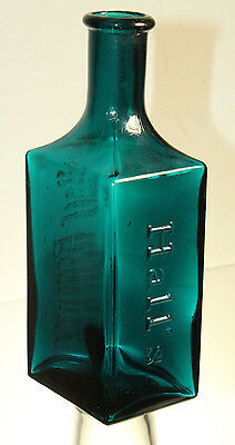 Antique Teal Blue Green Ayer's Hair Vigor Barber  Bottle 6 1/4'' R. P. H. & Co.