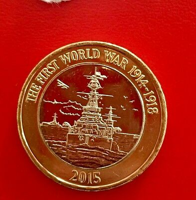 2015 Royal Navy HMS Belfast £2 Pound  Uncirculated Coin With Full Flag Error