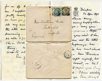 INDIA 1890 LETTER EDMUND GRUBBE to SOUTHWOLD SUFFOLK DINAPORE..Connaught Rangers