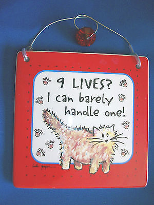 """NINE LIVES? I CAN BARELY HANDLE ONE! * Cat Wall Tile Tumbleweed Pottery 5""""x5"""""""
