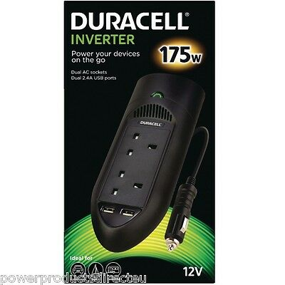 In-Car Power Inverter 175W by Duracell with Twin UK Socket Charger and Dual USB