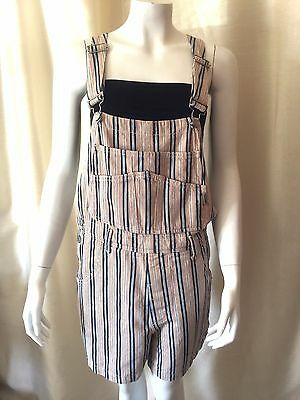 Vtg 90s Womens GUESS USA Striped Shorts Overalls Jumpsuit Romper Medium Hip Hop