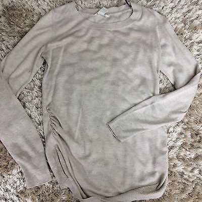 H&M Mama Beige Long Sleeve Fine Knit Maternity Top EUR Small Longline Casual