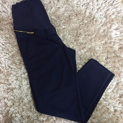 Ladies H&M Maternity Navy Blue Over Bump Tapered Leg Trousers EUR 38 UK 12 Smart