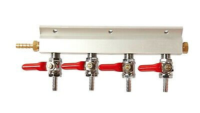 4 Way Compressed Gas Manifold - Line Splitter - Multi Keg Set Up - Free Shipping
