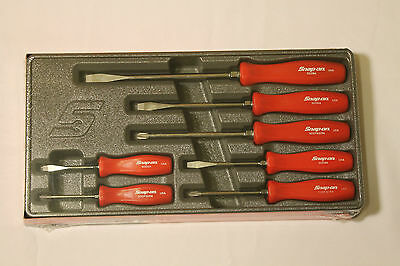 Snap On 7 Piece Rare Red Hard Handle Combination Screwdriver Set Brand New