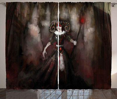 Gothic Curtains Medieval Evil Woman Myth Window Drapes 2 Panel Set 108x84 Inches