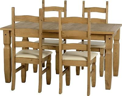 Corona Mexican 5' Dining Set Distressed Waxed Pine/Cream PU
