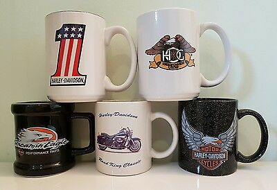 Harley Davidson Coffee Cups - Lot of 5 Assorted Mugs - One Price! FREE SHIPPING!