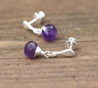 Small Stud Natural African Amethyst Wire Wrapped Earrings Solid Sterling Silver