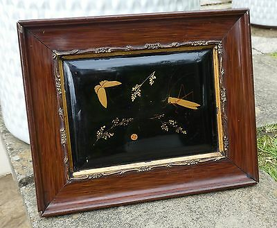 superb Japanese / Chinese / Oriental lacquer framed plaque picture.