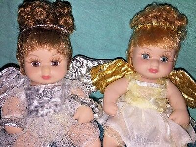 2 Classic Creations Porcelain Angel Dolls In Gold and Silver - Cherubs - Angels