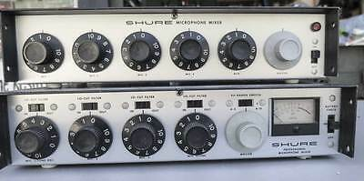 2 Vintage Shure M67  Proff Microphone Mixer 4 Channel w /wireless Mic