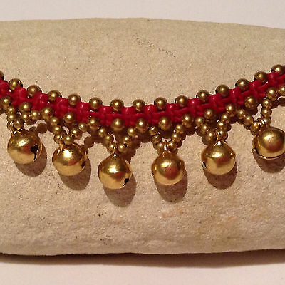 Handmade Hill Tribe Anklet Red Macramé work with Metal Beads and Jingle Bells