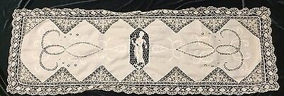 Antique White Figural Bobbin Brussel Lace Runner Shawl Tablecloth