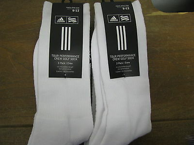 4 Adidas Tour Performance Crew Golf Socks White Size 9-12 BRAND NEW NIB!!