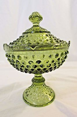 Vintage Fenton Art Glass Hobnail Colonial Green Compote w/Lid Antique Glass