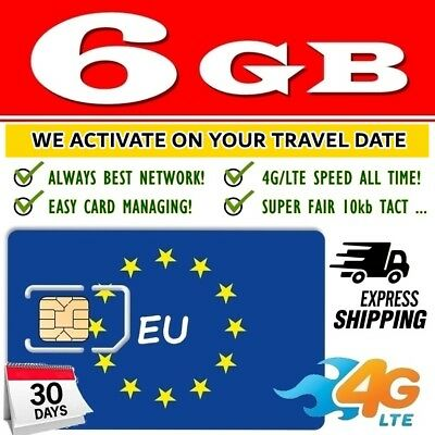EU SIM card - Europe holiday trip 6GB data Internet European Union, 4G/LTE Speed