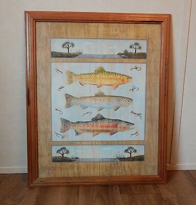 WOODEN FRAMED FLY FISHING PRINT 22X18 Trout Stream Flies Lures CABIN DECOR nice