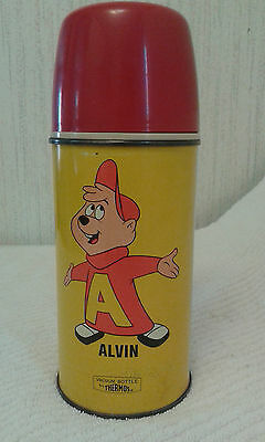 Vintage 1963 Alvin And The Chipmunks Metal Thermos for Lunchbox RARE
