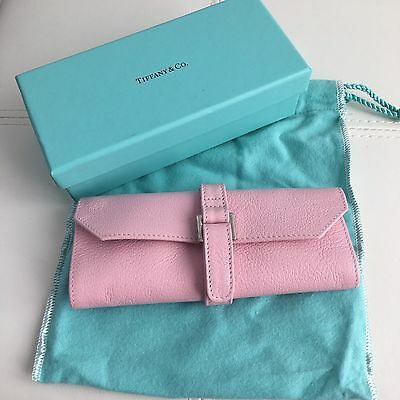 Tiffany & Co Pink Leather Jewelry Travel Purse Bag Roll Case BOX POUCH!